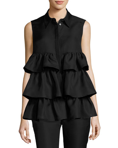 Sleeveless Tiered Blouse, Black