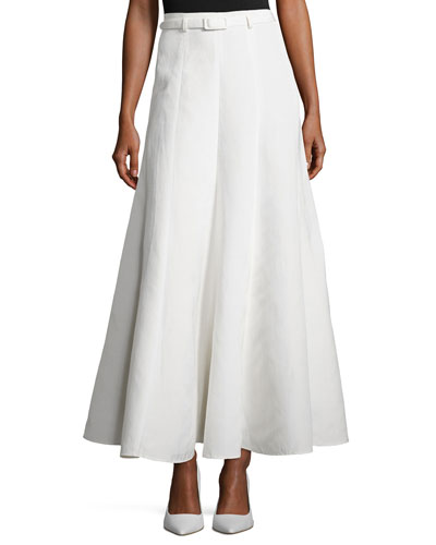 Belted Pleated Maxi Skirt, Ivory