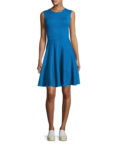 Jacquard Sleeveless Crewneck Dress, Royal