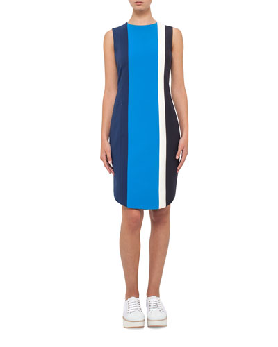 Striped Sleeveless Sheath Dress, Blue Pattern