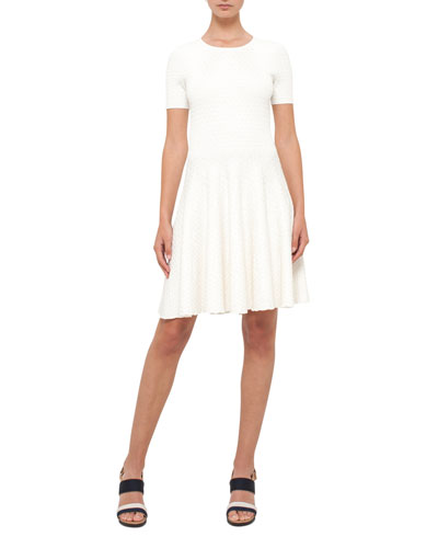 Knit Short-Sleeve Crewneck Dress, Cream