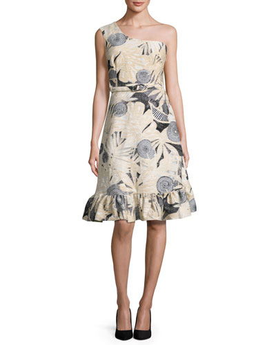 Tropical-Jacquard One-Shoulder Dress, Black/White