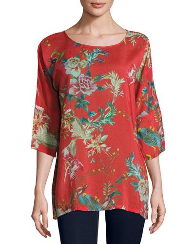 Malakye Dolman-Sleeve Floral-Print Top, Red