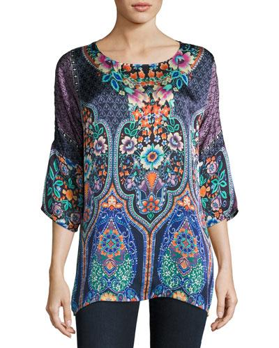 Malakye Dolman-Sleeve Floral-Print Top, Blue