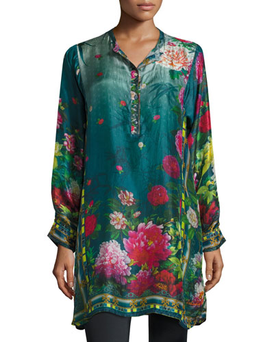 Heaven Long Floral-Print Silk Tunic, Plus Size