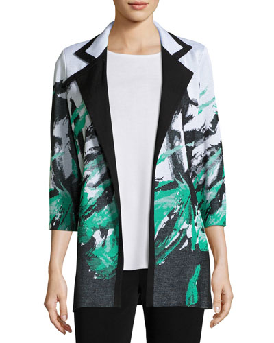 Notched-Collar Graphic-Print Knit Jacket, Petite