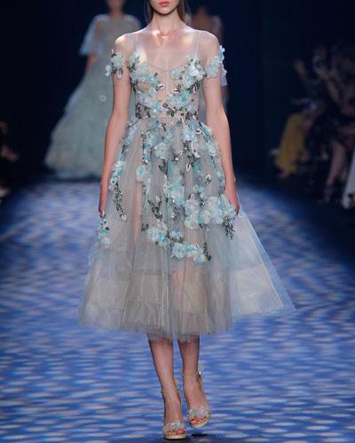 Floral-Appliqué Tea-Length Cocktail Dress, Mint