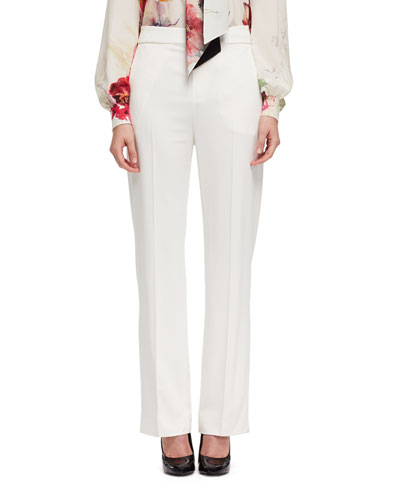 Stretch-Woven Wide-Leg Pants, Off White