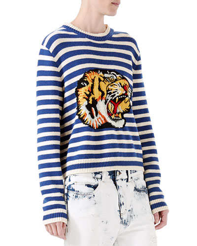 Striped Wool Knit Top, Blue