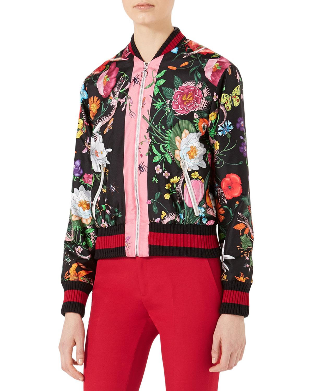 Flora Snake-Print Silk Bomber Jacket, Multicolor
