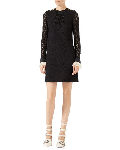 Embroidered Cluny Lace Dress, Black