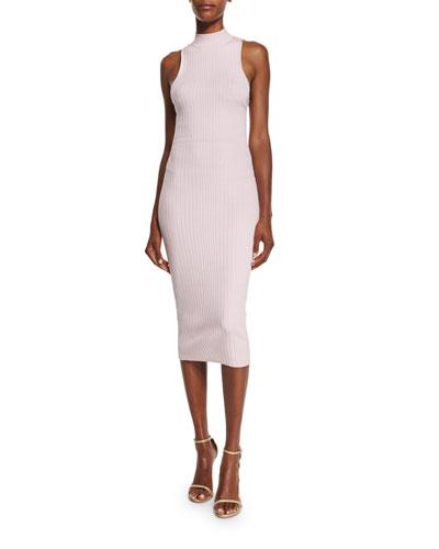 Sleeveless Ribbed Lace-Up Back Dress
