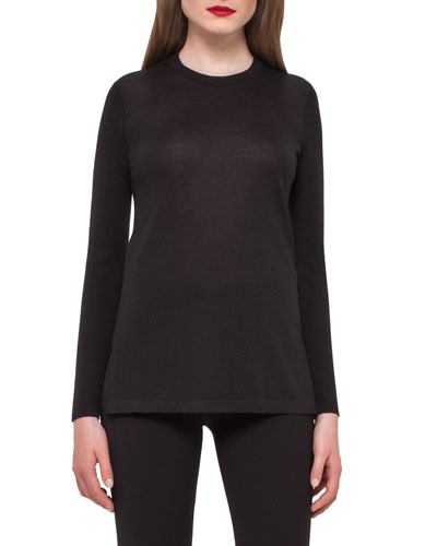 Cashmere Crewneck Tunic Sweater