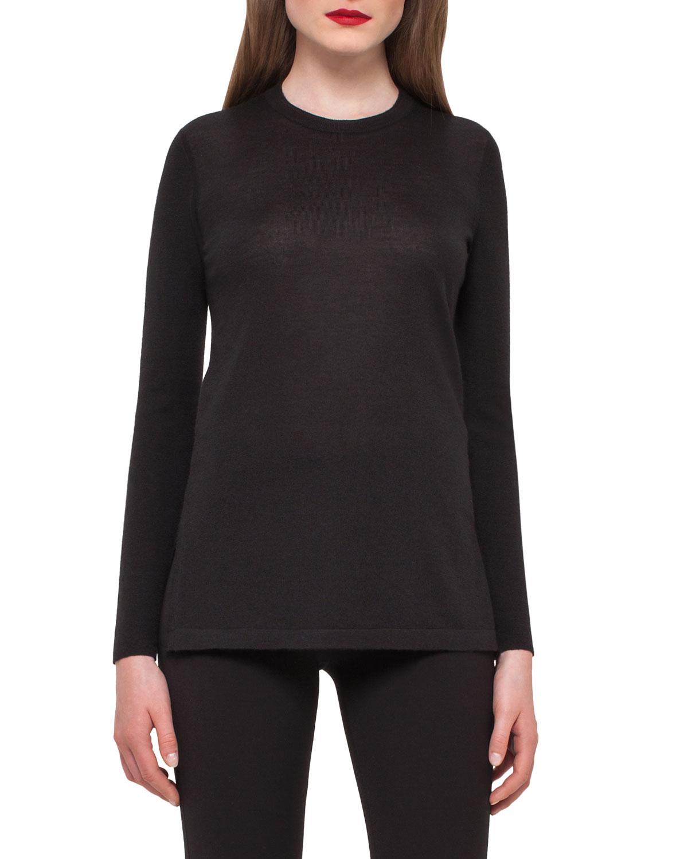 Cashmere Crewneck Tunic Sweater