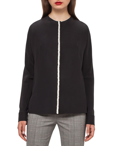 Dolman-Sleeve Cable-Trim Blouse, Black/Moon