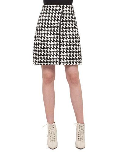 Houndstooth Wrap Skirt, Black/Moonstone