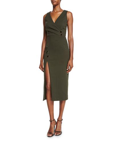 Sleeveless Button-Detail V-Neck Dress