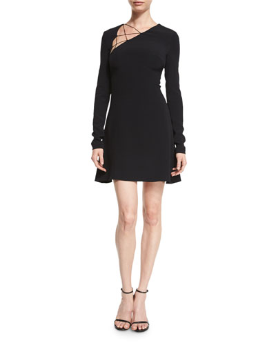 Lace-Up Long-Sleeve Fit-&-Flare Dress, Black