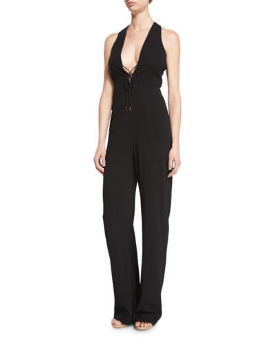 Sleeveless Lace-Up V-Neck Jumpsuit, Black