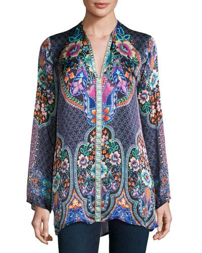 Houstein Printed Charmeuse Tunic, Plus Size