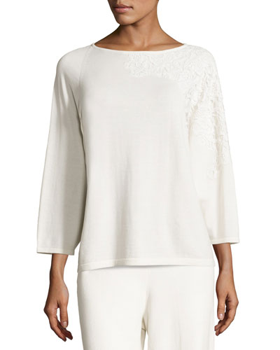 Lace-Appliqué Sweater Top, Ivory