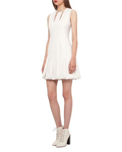 Keyhole-Neck Pleated Sleeveless Dress, Moonstone