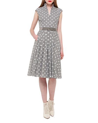 Square-Print Cap-Sleeve A-Line Dress, Silver/Charcoal