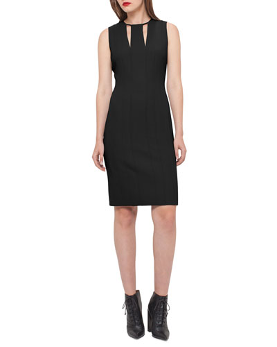 Sleeveless V-Keyhole Sheath Dress, Black/Moonstone
