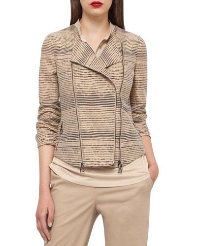 Organza-Stripe Jacquard Moto Jacket, Camel