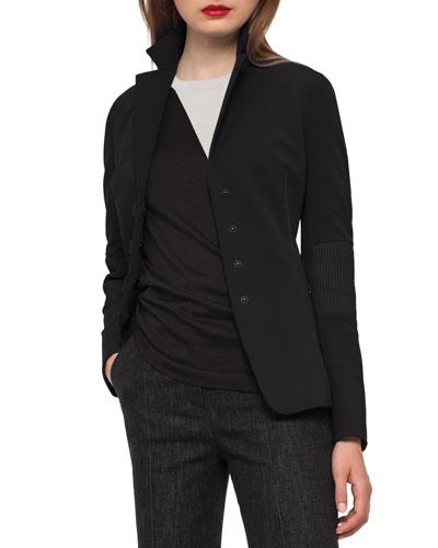 Iago Leather-Panel Riding Jacket, Black