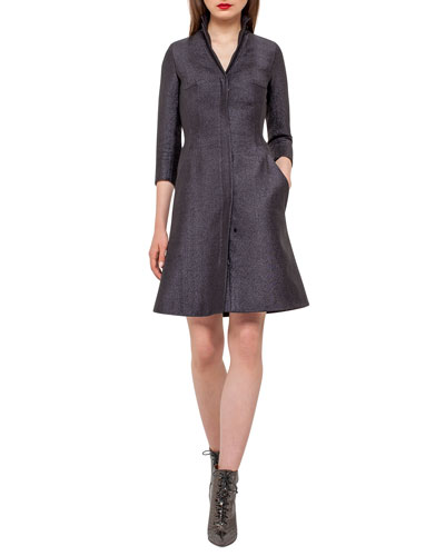 Eve Metallic Chenille Coat Dress, Black