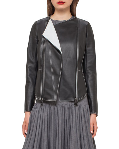 Leather Biker Jacket w/Contrast Stitching, Black/Moonstone