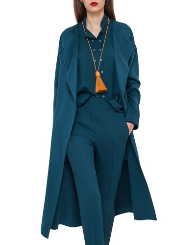 Cashmere Lapel-Collar Long Coat, Seabiscuit