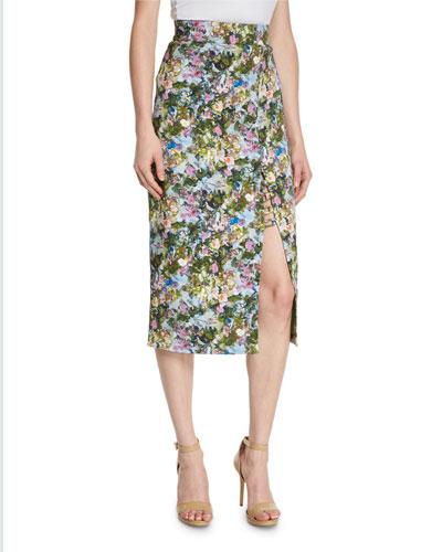 Floral Front-Slit Pencil Skirt