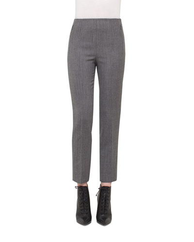 Conny High-Waist Ankle Pants, Silver/Charcoal
