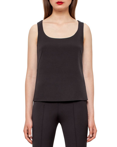 Scoop-Neck Silk Shell, Black