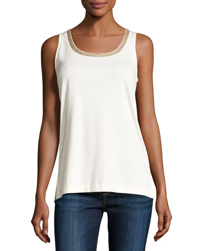 Sleeveless Beaded-Neck Tank