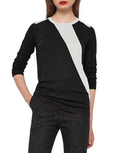 Diagonal-Stripe Crewneck Sweater, Moonstone/Black