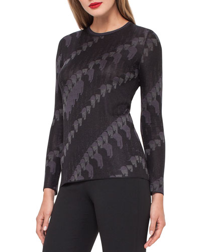 Jockey-Jacquard Crewneck Sweater, Black/Lure