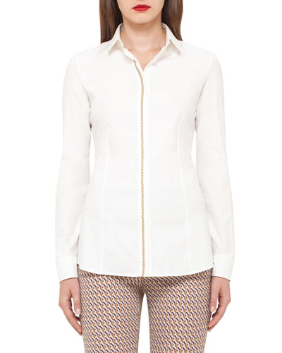 Cable-Trim Long-Sleeve Blouse, Moonstone