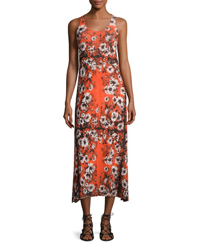 Sleeveless Mixed Reversible Lace-Print Long Dress, Multi