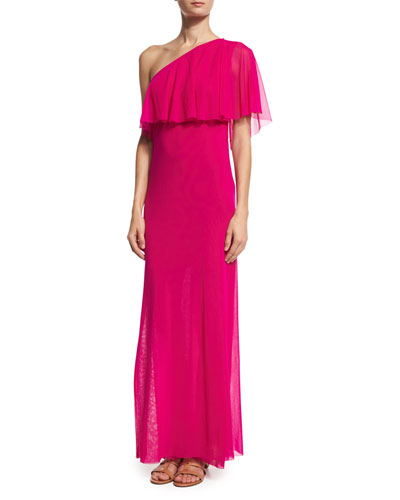 Ruffled One-Shoulder Column Gown, Fuchsia