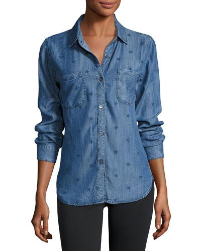 Carter Denim Star-Print Shirt, Indigo