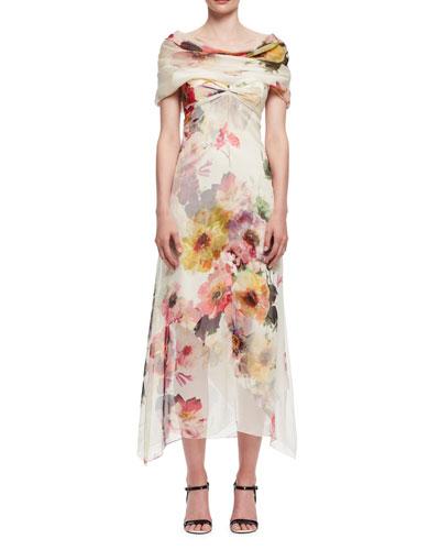 Bouquet-Print Off-the-Shoulder Dress, Multi