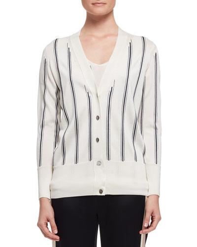 Vertical-Stripe V-Neck Cardigan, White/Black