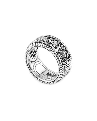 Zeus Carved Sterling Silver Band Ring