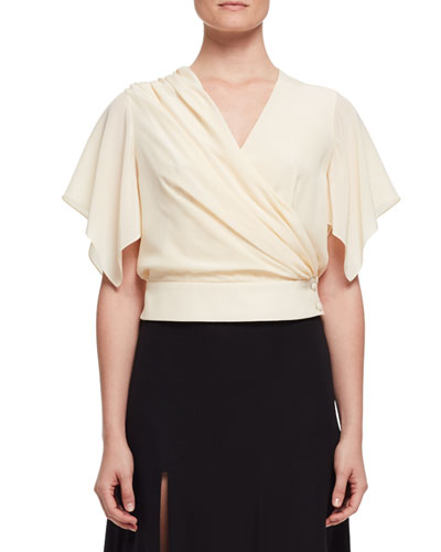Flutter-Sleeve Wrap Blouse, Ivory