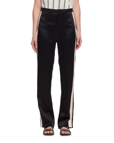 Side-Stripe Straight-Leg Pants, Black/Multi