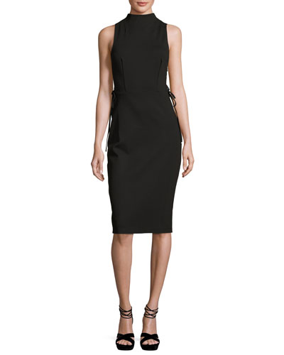 Sleeveless Laced Stretch Crepe Dress, Black