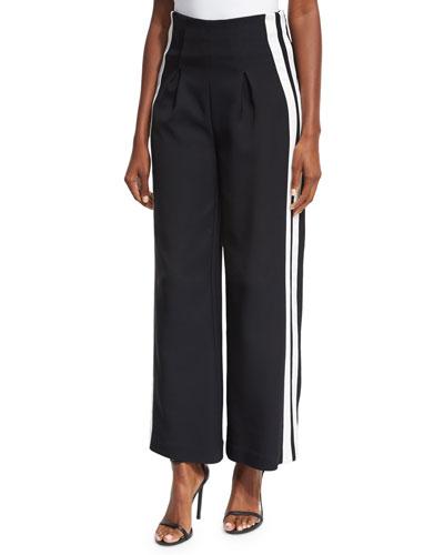 High-Waist Track-Stripe Wide-Leg Trousers